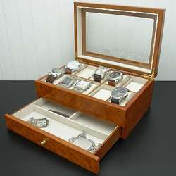 Vicenza Burlwood Oak Ten Watch Box