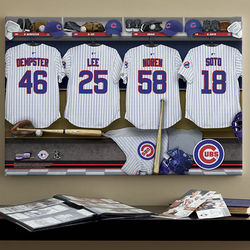 16 x 24 Chicago Cubs MLB Personalized Locker Room Canvas