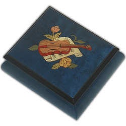 Small Musical Jewelry Box with Violin
