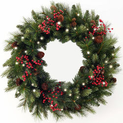 24 Inch LED Cone and Berry Christmas Wreath