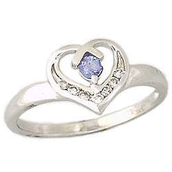 14K White Gold Tanzanite and Diamond Heart Ring
