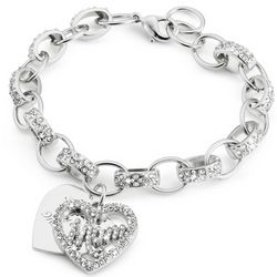 Mom Bling Heart Bracelet