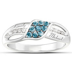Personalized Waves of Love Diamond Ring