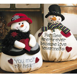 Plush Mr. and Mrs. Snowman Set