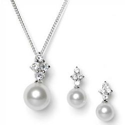 Bridal Pearl Drop Pendant and Earrings Set