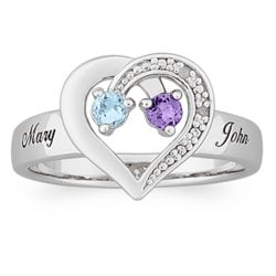 Couple's Sterling Silver Birthstone and Diamond Heart Name Ring