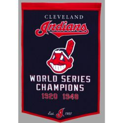 Cleveland Indians Vintage Wool Dynasty Banner with Cafe Rod