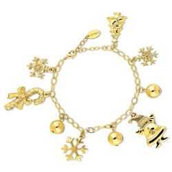 Gold-Tone Ball Bead Snowflake Charm Bracelet