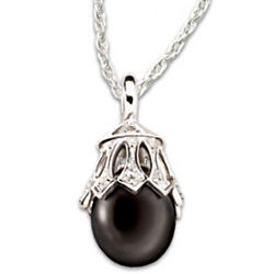 Black Tahitian Pearl & Diamond Sterling Silver Pendant Necklace