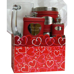 Valentine's Day Personalized Red Flask Gift Set