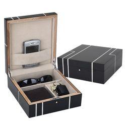 Men's Metropolitan Black Wood Valet Box