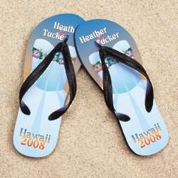 Personalized Hawaiian Wedding Dress Beacher Sandals