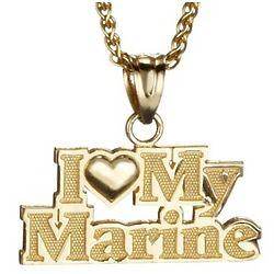 I Love My Marine Pendant in 14k Gold