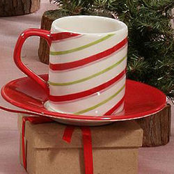 Candy Cane Espresso Cup and Saucer Set
