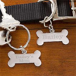 Personalized Dog Bone Name Tag & Keychain Set