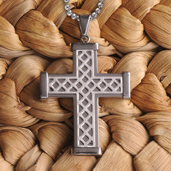 Personalized Silver Weave Cross Pendant