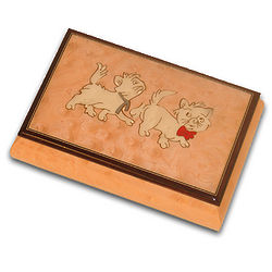 Wooden Pink Cat Musical Jewelry Box