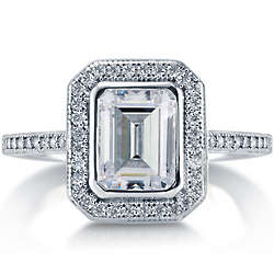 Emerald Cut Cubic Zirconia Sterling Silver Halo Ring