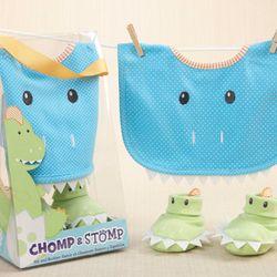 Chomp & Stomp Dinosaur Bib and Booties