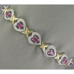 Faux Ruby Heart Bracelet