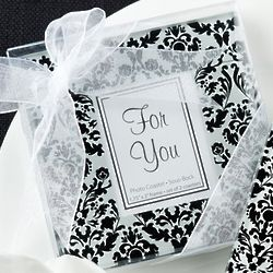 Classic Damask Black and White Glass Coasters