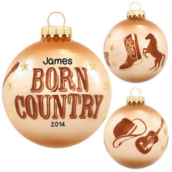 Born Country Personalized Glass Ball Christmas Ornament
