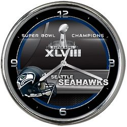 Seattle Seahawks Super Bowl XLVIII Champions Chrome Clock