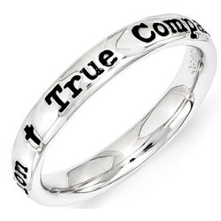 Black Enamel True Companion Stack Ring in Sterling Silver