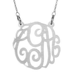 Gunmetal Acrylic Monogram Necklace