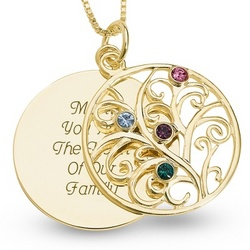 14K Gold and Sterling Four Birthstone Necklace