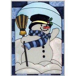 Snowman Stained Glass Window