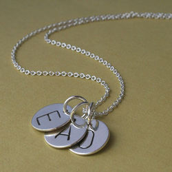 Trio Letter Charm Sterling Silver Necklace