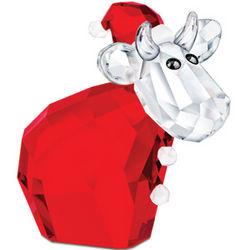 Swarovski Crystal Santa Cow Figurine