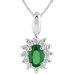 1/5 Carat TW Emerald and Diamond Pendant in 10K White Gold