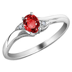 Ruby Gemstone Ring with Diamonds in 10K White Gold