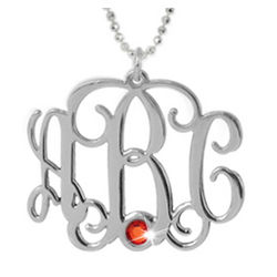 Sterling Silver Monogram Necklace with Swarovski Stone