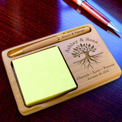 Personalized Tree of Life Wooden Notepad and Pen Holder