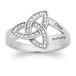 Sterling Silver Couple's Trinity Knot Diamond Name Ring