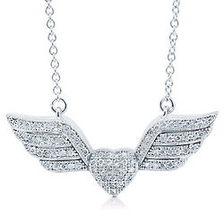 Cubic Zirconia Sterling Silver Heart Wings Necklace