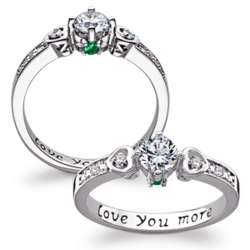 Love You More Couple's Birthstone and CZ Promise Ring