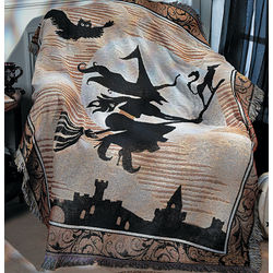 Black and White Halloween Silhouette Throw