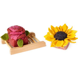 Rose and Sunflower Felted Soaps