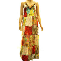 Multicolor Polyester Long Dress