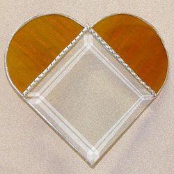 Amber Glass Heart Suncatcher