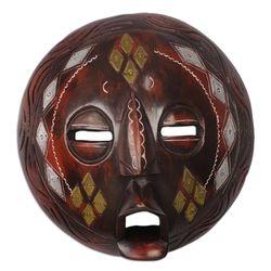 Diamond Face African Wood Mask