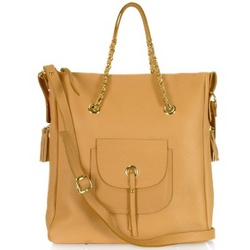 Front Pocket Grained Leather Tote Shoulder Bag