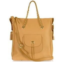 Front Pocket Grained Leather Tote Shoulder Bag
