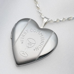 Sterling Silver First Communion Heart Locket