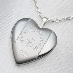 Sterling Silver First Communion Heart Locket