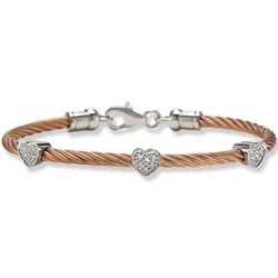 Pink Stainless Steel Diamond Heart Cable Bracelet